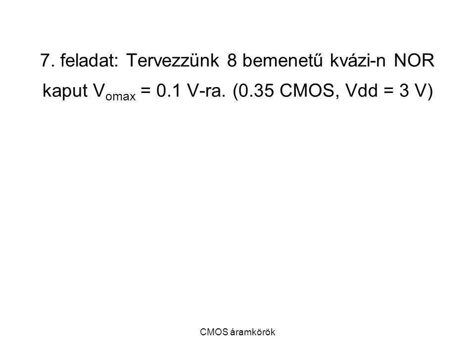 7. feladat: Tervezzünk 8 bemenetű kvázi-n NOR kaput Vomax = 0. 1 V-ra