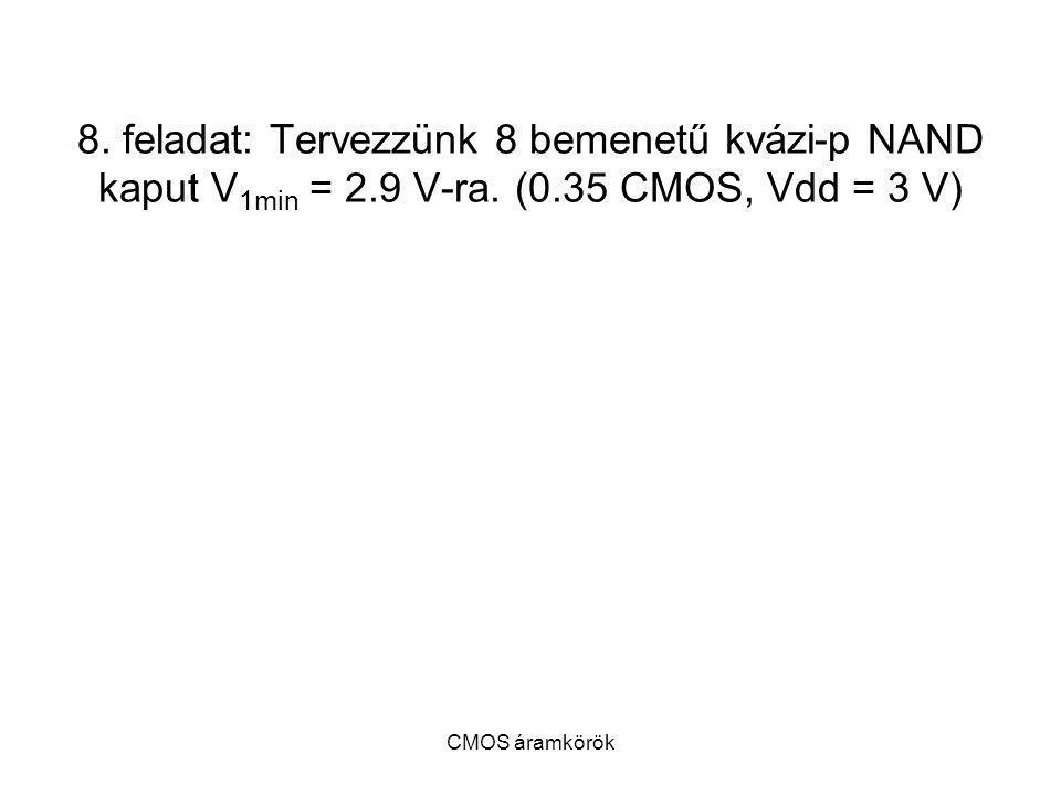 8. feladat: Tervezzünk 8 bemenetű kvázi-p NAND kaput V1min = 2. 9 V-ra