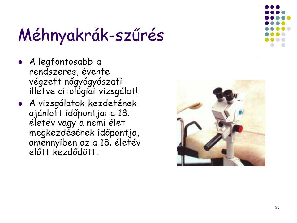 Méhnyakrák-szűrés A legfontosabb a rendszeres, évente végzett nőgyógyászati illetve citológiai vizsgálat!