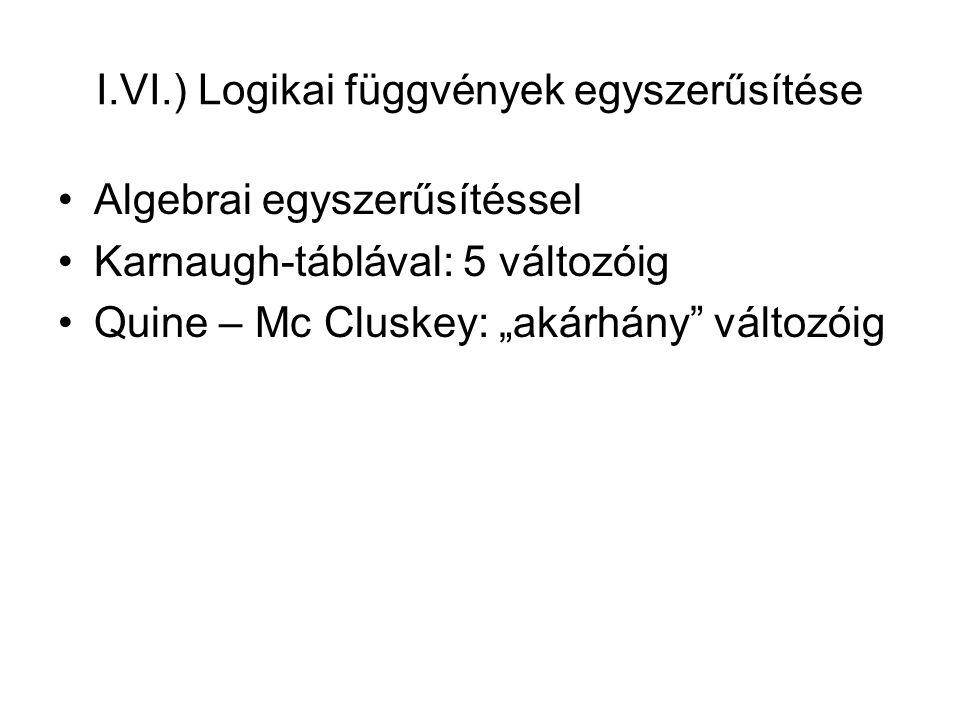 I.VI.) Logikai függvények egyszerűsítése