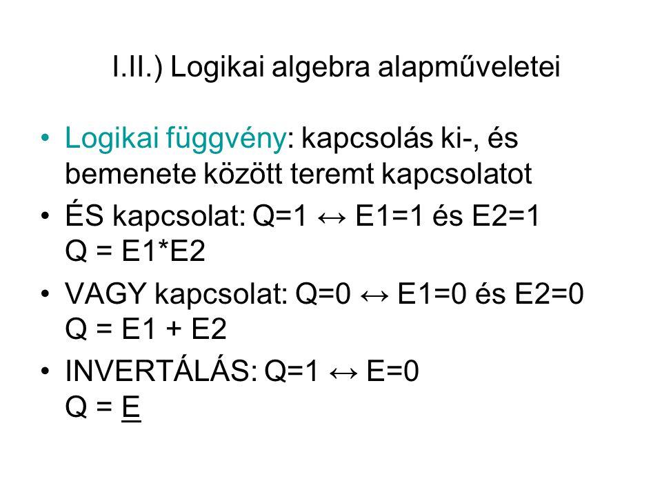 I.II.) Logikai algebra alapműveletei