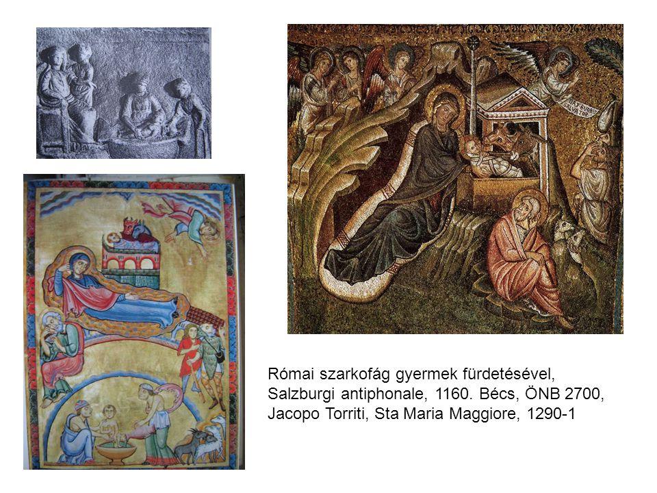 Római szarkofág gyermek fürdetésével, Salzburgi antiphonale, 1160