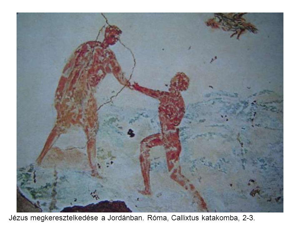 Jézus megkeresztelkedése a Jordánban. Róma, Callixtus katakomba, 2-3