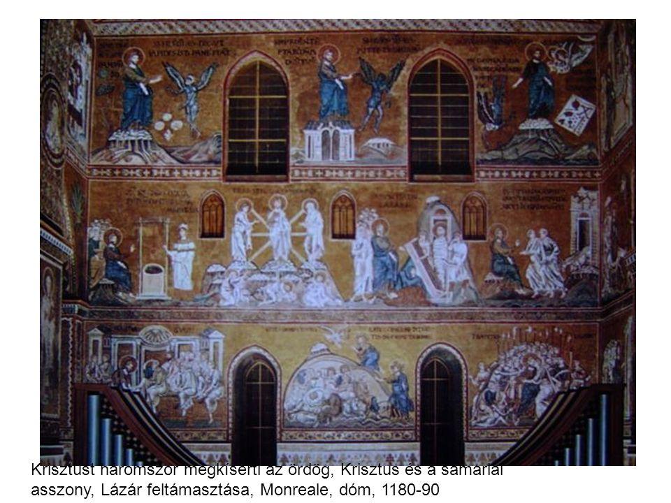 Krisztust háromszor megkísérti az ördög, Krisztus és a samariai asszony, Lázár feltámasztása, Monreale, dóm, 1180-90