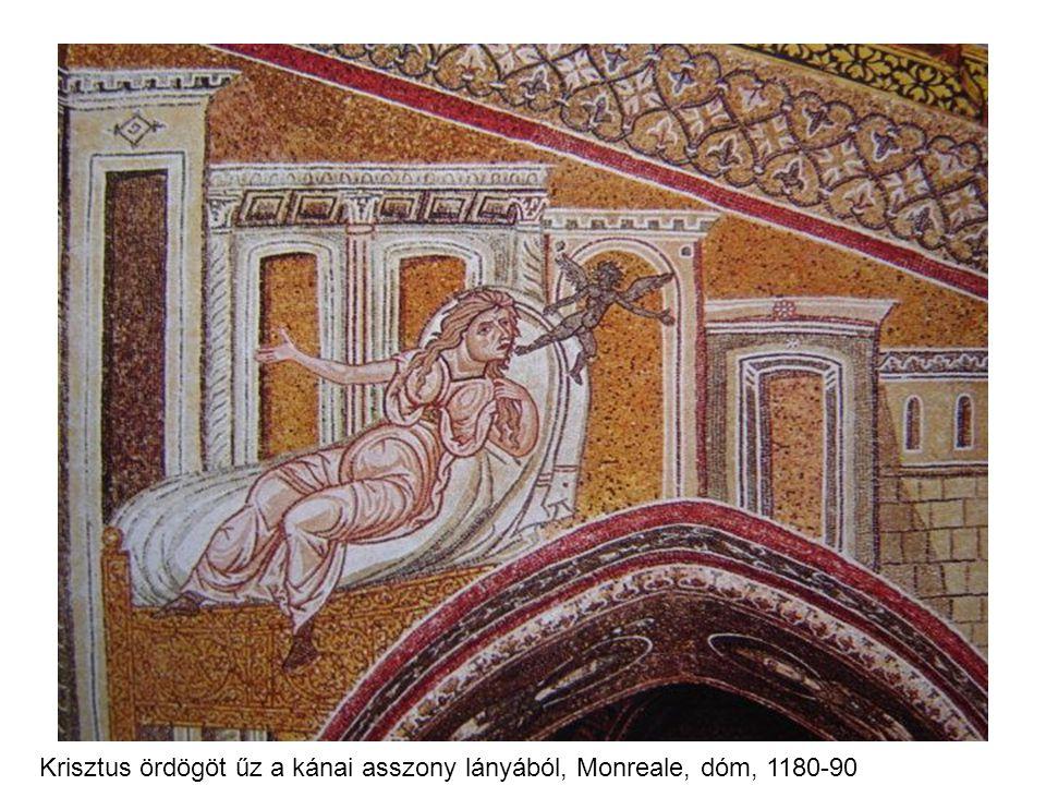 Krisztus ördögöt űz a kánai asszony lányából, Monreale, dóm, 1180-90