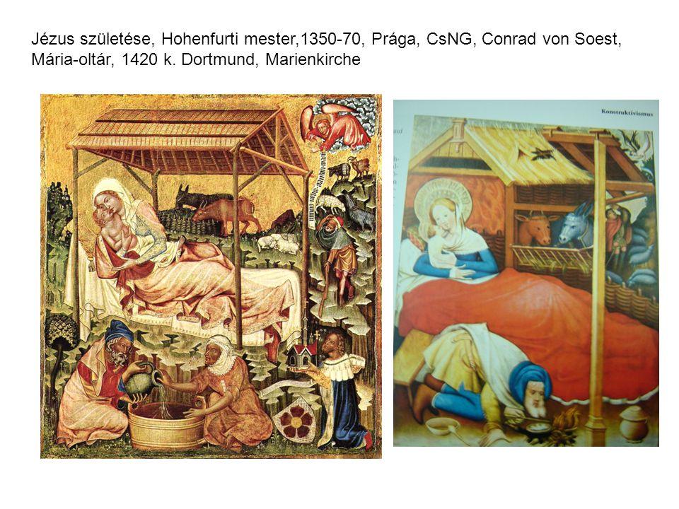 Jézus születése, Hohenfurti mester,1350-70, Prága, CsNG, Conrad von Soest, Mária-oltár, 1420 k.