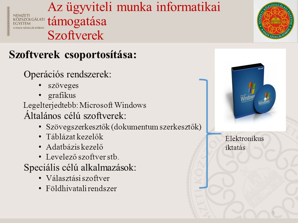 Az ügyviteli munka informatikai támogatása Szoftverek
