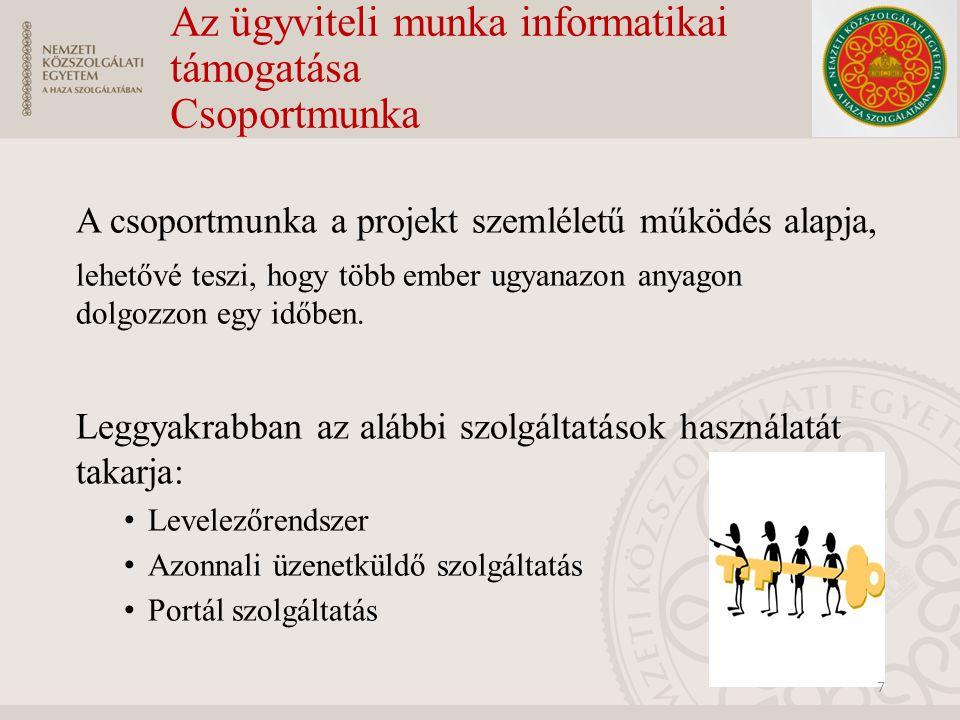Az ügyviteli munka informatikai támogatása Csoportmunka