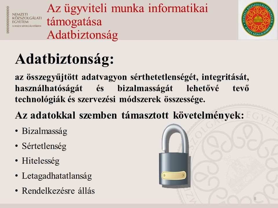 Az ügyviteli munka informatikai támogatása Adatbiztonság