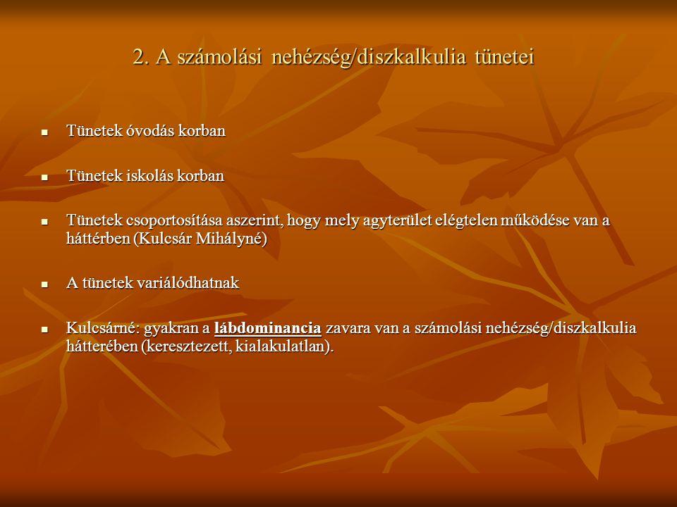 2. A számolási nehézség/diszkalkulia tünetei