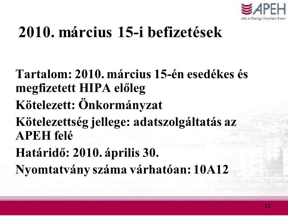 2010. március 15-i befizetések
