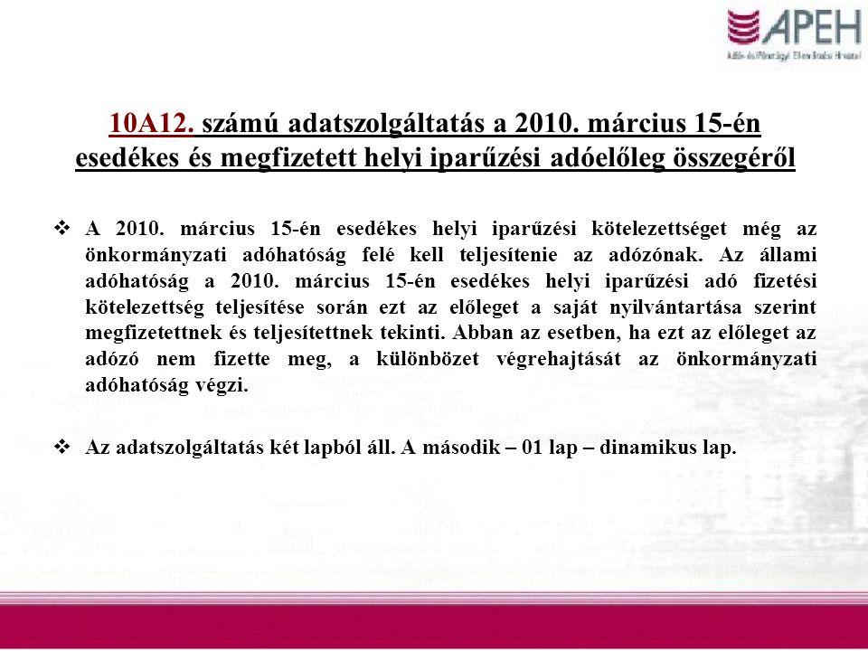 10A12. számú adatszolgáltatás a 2010