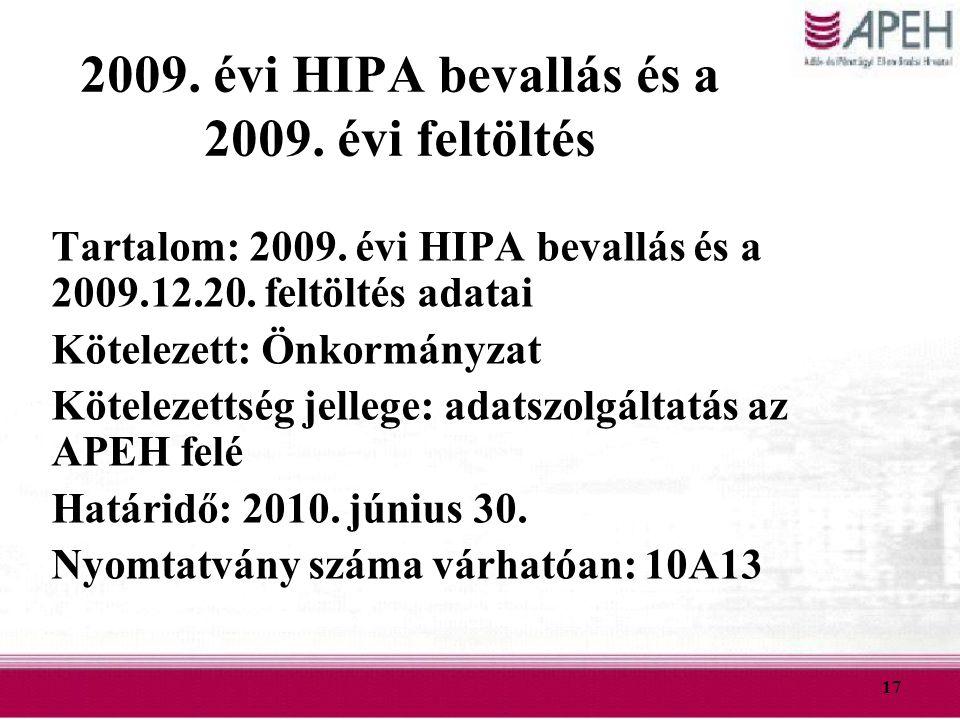 2009. évi HIPA bevallás és a 2009. évi feltöltés