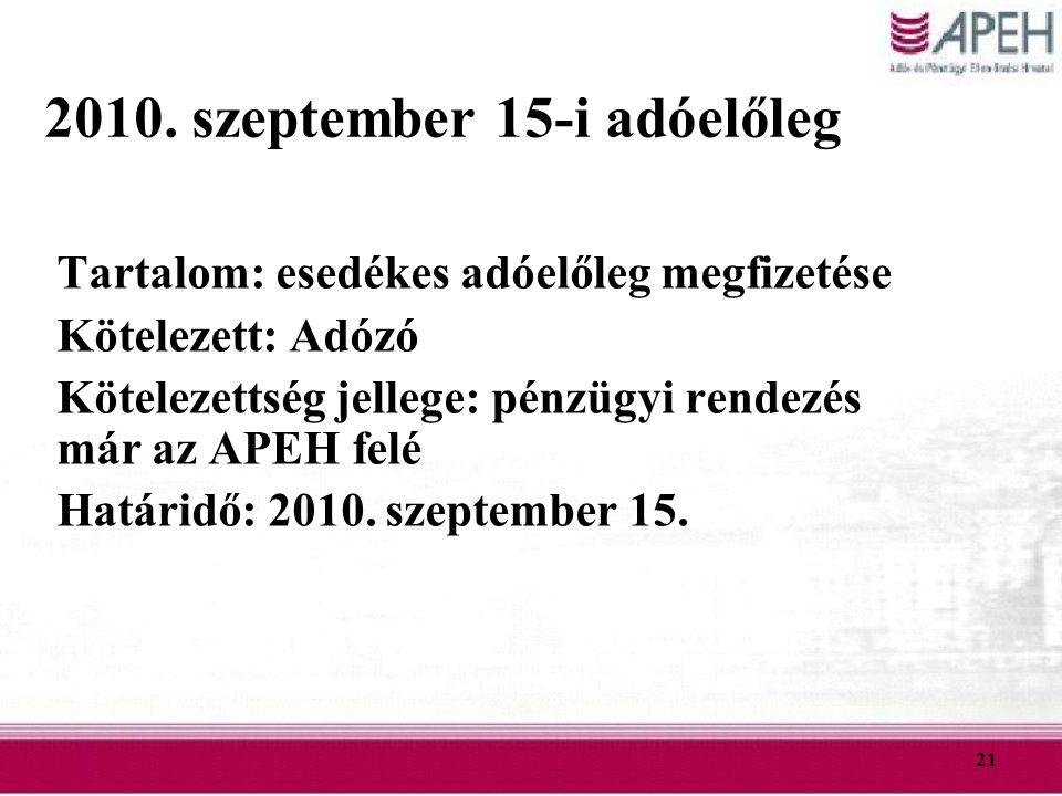 2010. szeptember 15-i adóelőleg