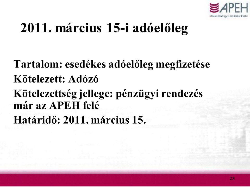 2011. március 15-i adóelőleg Tartalom: esedékes adóelőleg megfizetése