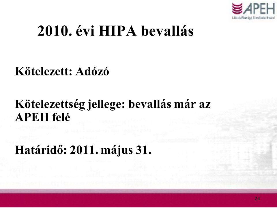 2010. évi HIPA bevallás Kötelezett: Adózó