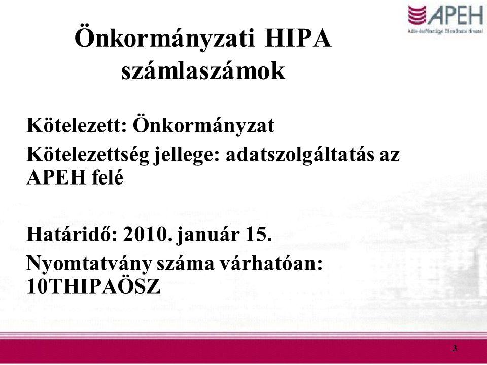 Önkormányzati HIPA számlaszámok