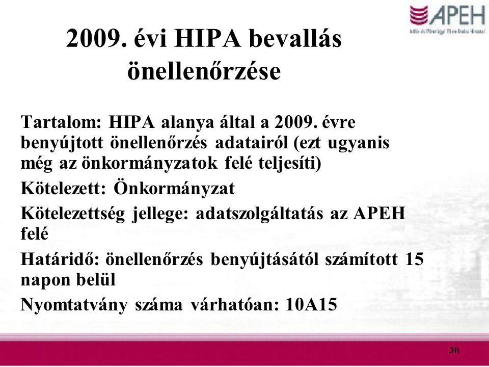 2009. évi HIPA bevallás önellenőrzése