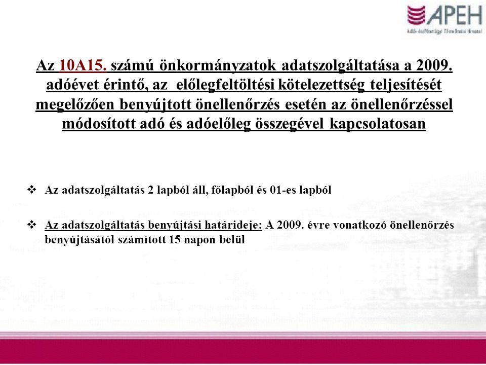 Az 10A15. számú önkormányzatok adatszolgáltatása a 2009