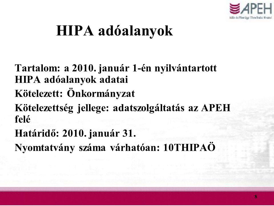 HIPA adóalanyok Tartalom: a 2010. január 1-én nyilvántartott HIPA adóalanyok adatai. Kötelezett: Önkormányzat.