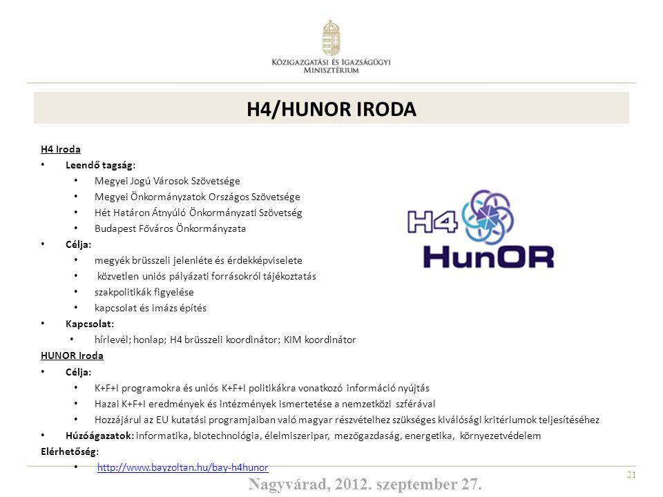 H4/HUNOR IRODA Nagyvárad, 2012. szeptember 27. H4 Iroda Leendő tagság: