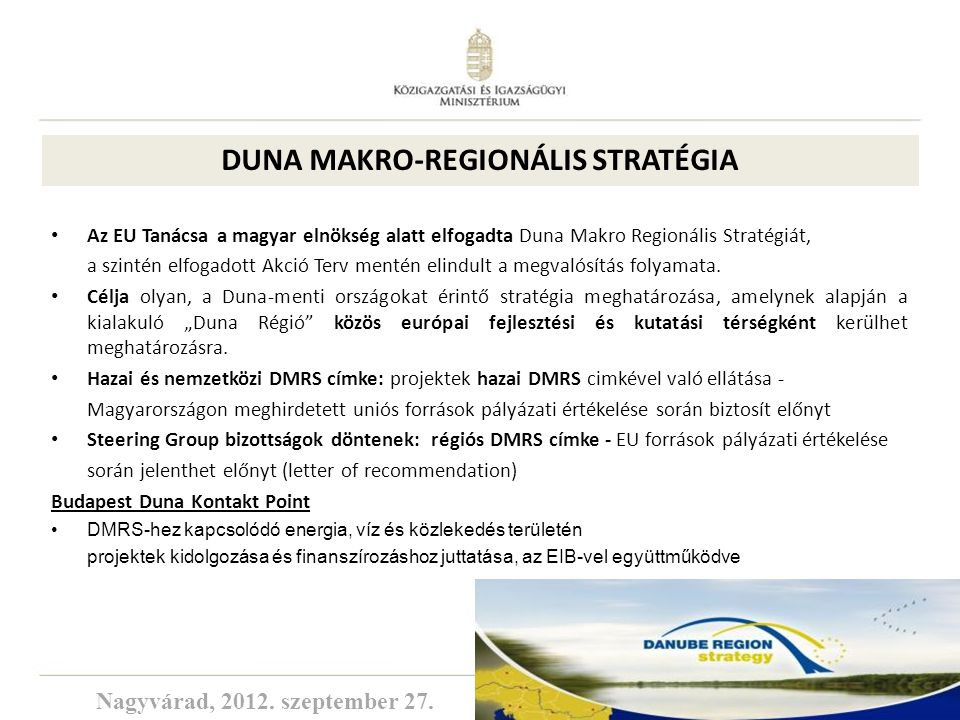 DUNA MAKRO-REGIONÁLIS STRATÉGIA