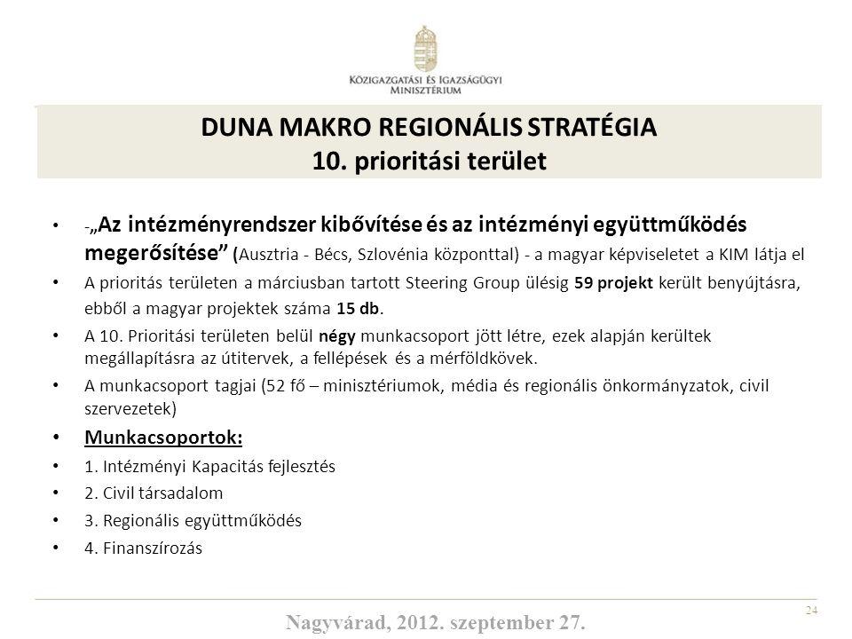DUNA MAKRO REGIONÁLIS STRATÉGIA 10. prioritási terület