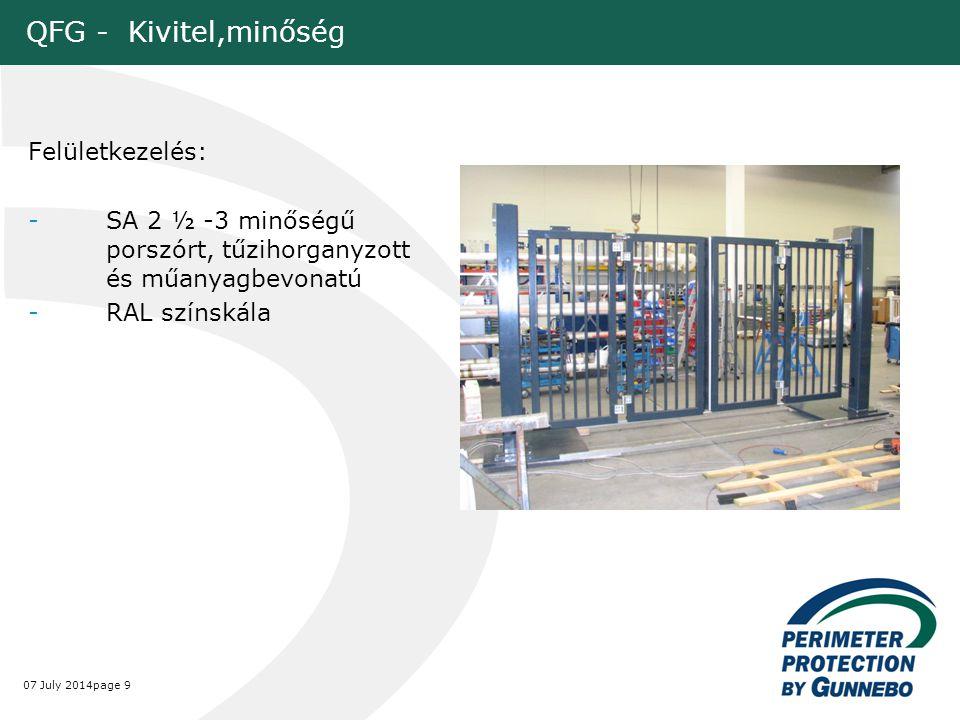 QFG - Kivitel,minőség Felületkezelés: