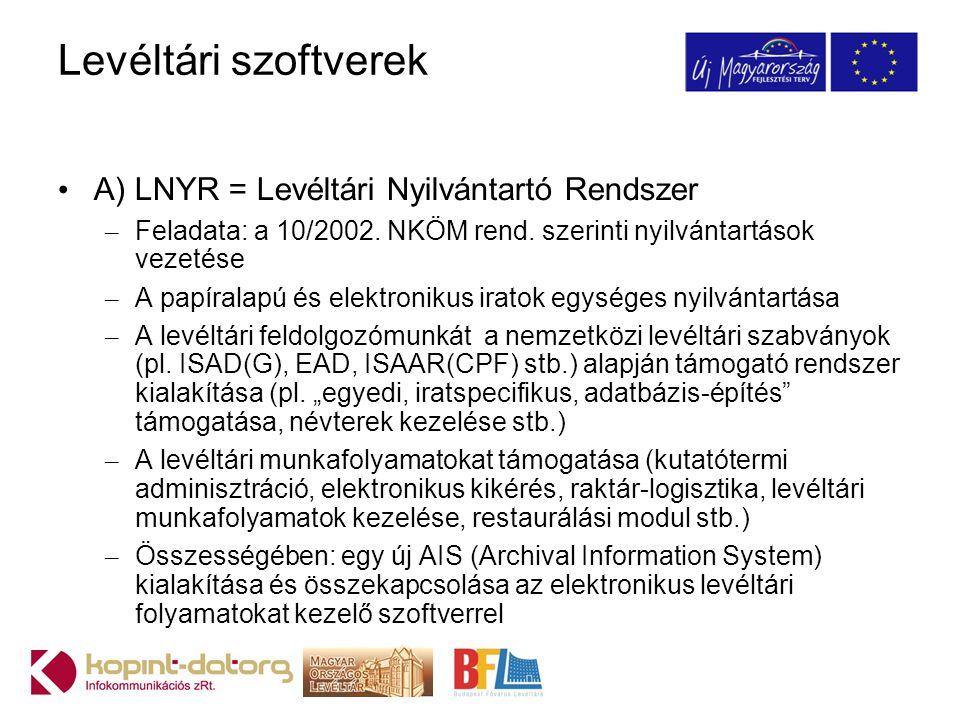 Levéltári szoftverek A) LNYR = Levéltári Nyilvántartó Rendszer
