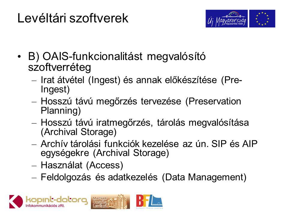 Levéltári szoftverek B) OAIS-funkcionalitást megvalósító szoftverréteg