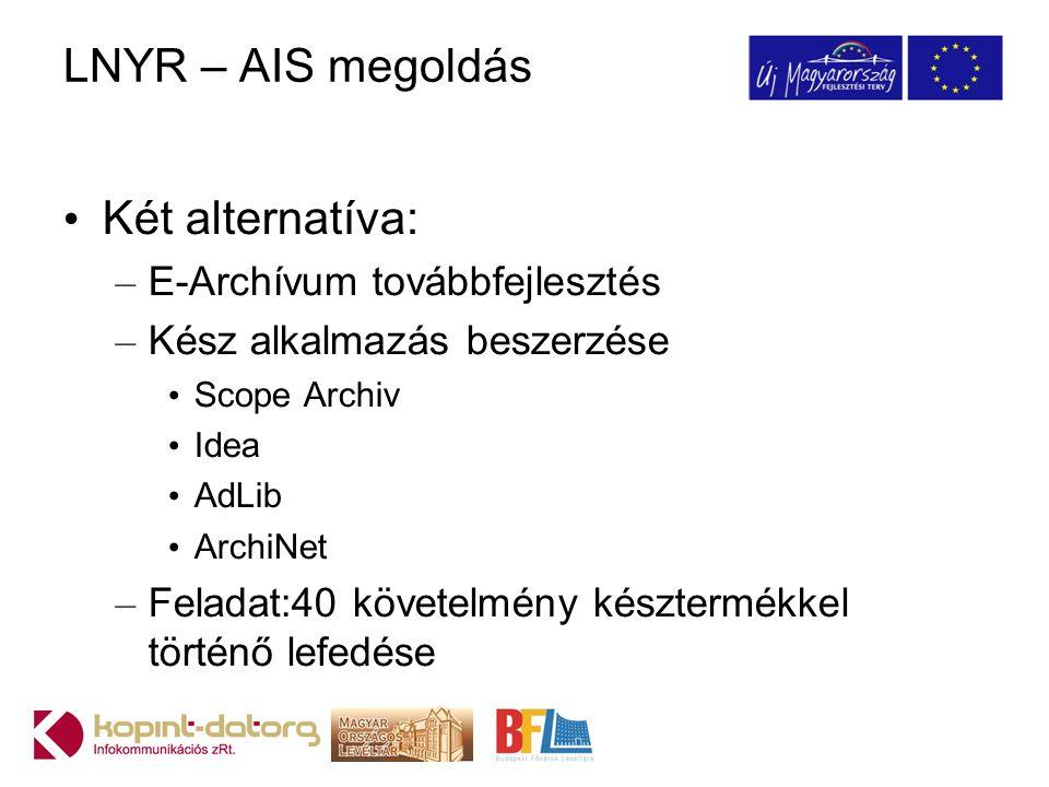 LNYR – AIS megoldás Két alternatíva: E-Archívum továbbfejlesztés