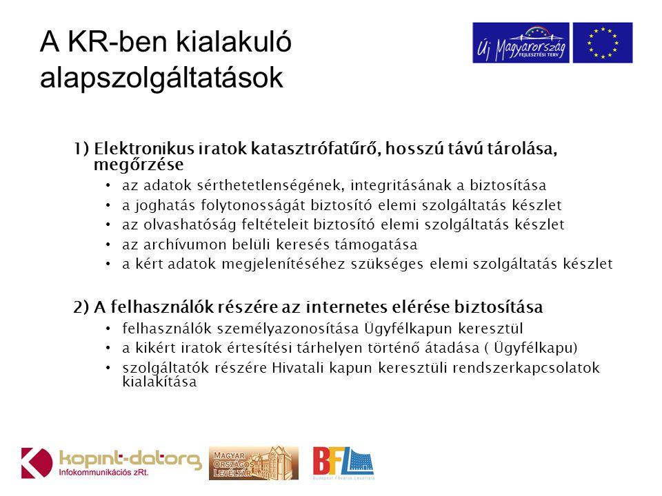 A KR-ben kialakuló alapszolgáltatások