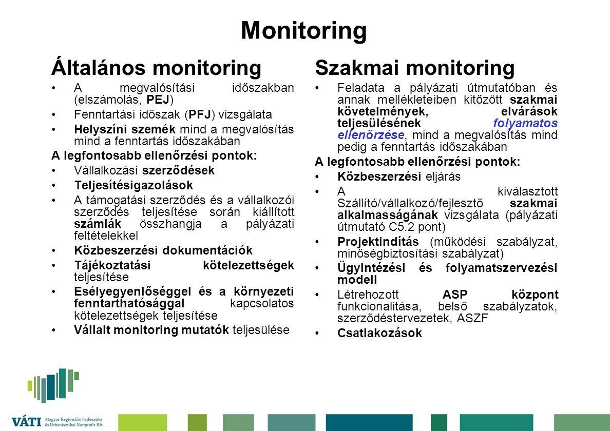Monitoring Általános monitoring Szakmai monitoring