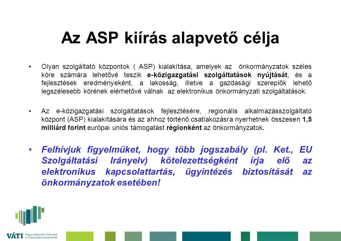 Az ASP kiírás alapvető célja