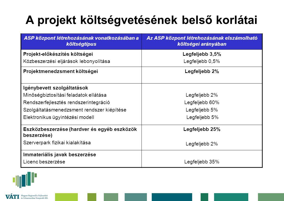 A projekt költségvetésének belső korlátai