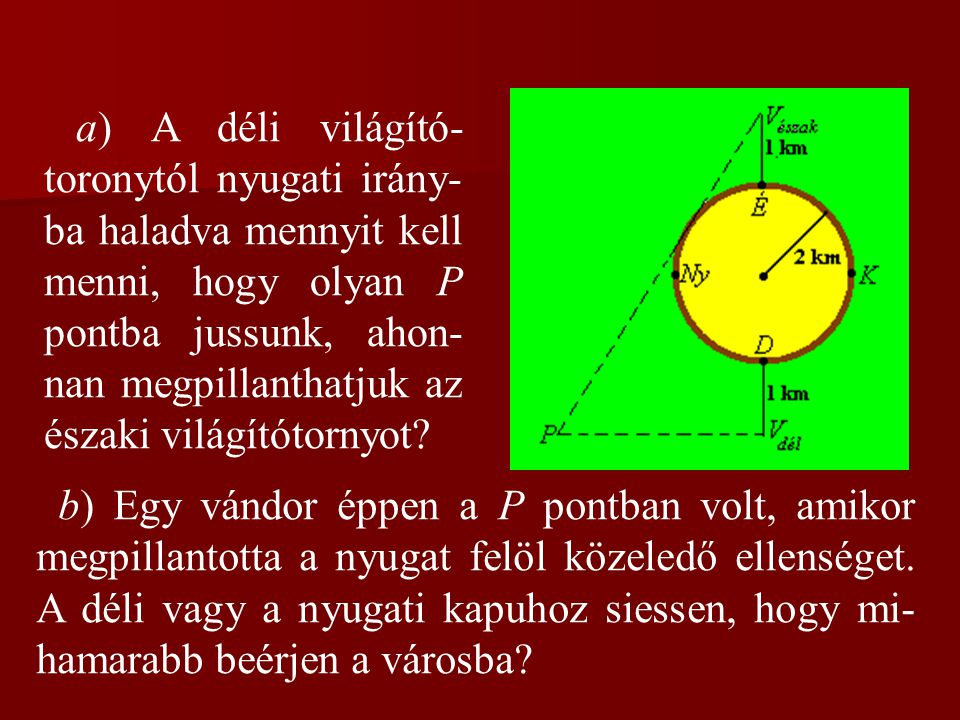 a) A déli világító-toronytól nyugati irány-ba haladva mennyit kell menni, hogy olyan P pontba jussunk, ahon-nan megpillanthatjuk az északi világítótornyot