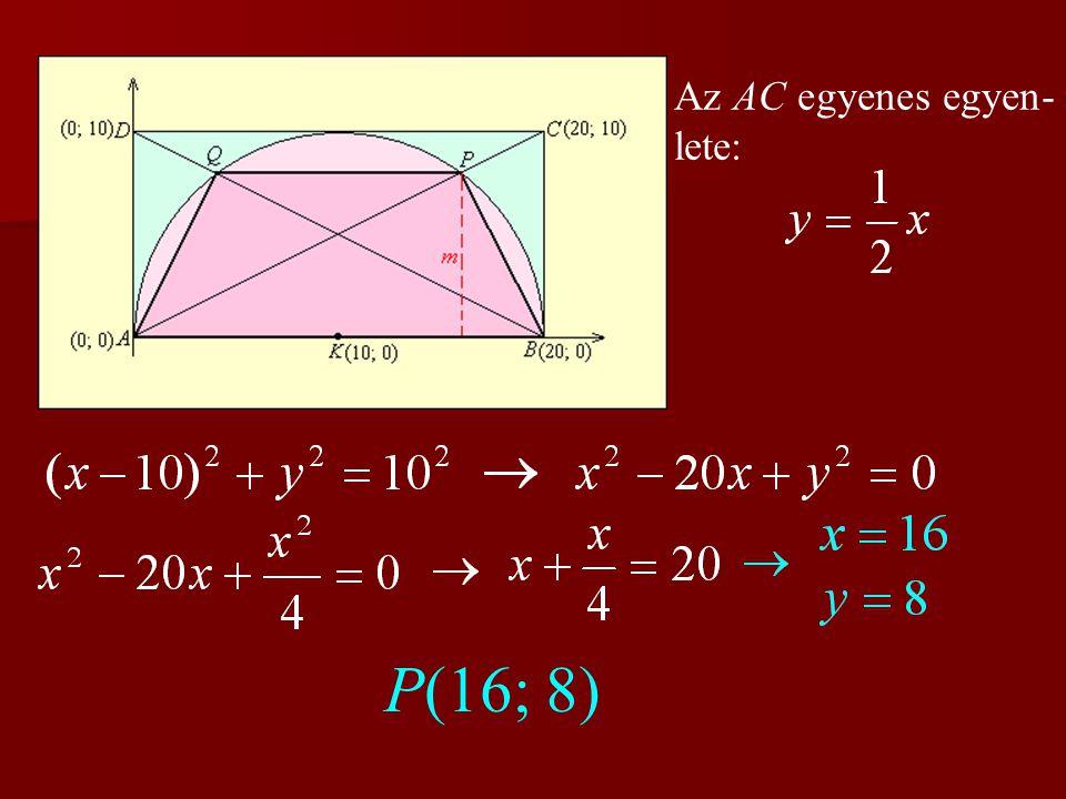 Az AC egyenes egyen-lete: