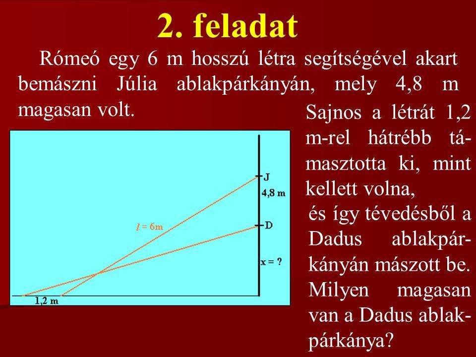 2. feladat Rómeó egy 6 m hosszú létra segítségével akart bemászni Júlia ablakpárkányán, mely 4,8 m magasan volt.