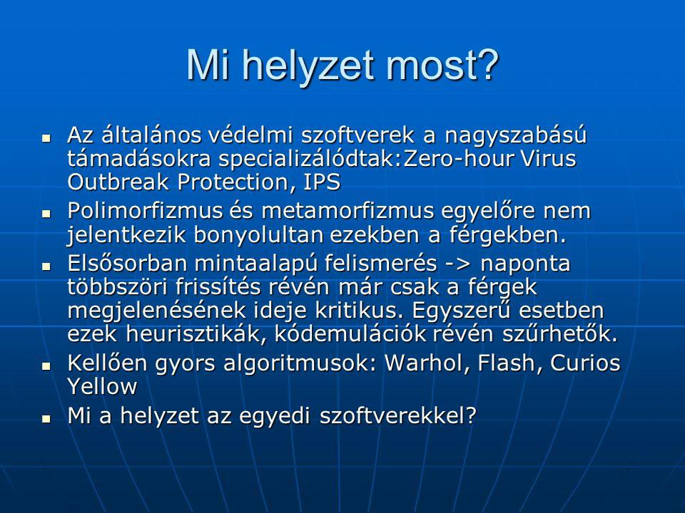 Mi helyzet most Az általános védelmi szoftverek a nagyszabású támadásokra specializálódtak:Zero-hour Virus Outbreak Protection, IPS.