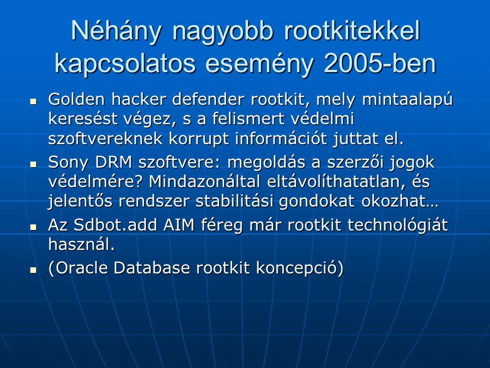Néhány nagyobb rootkitekkel kapcsolatos esemény 2005-ben