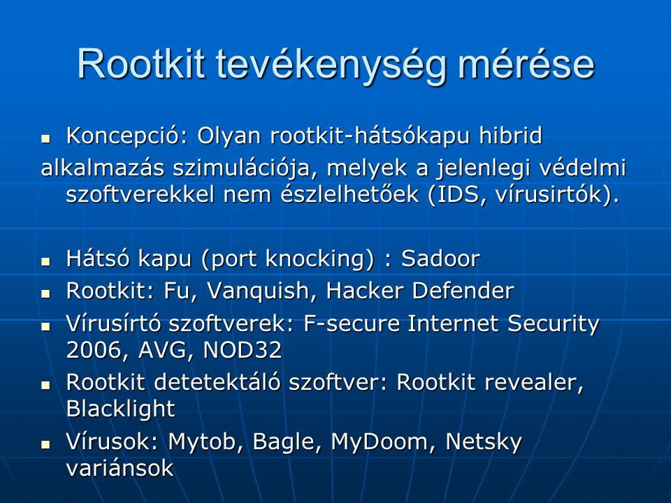 Rootkit tevékenység mérése