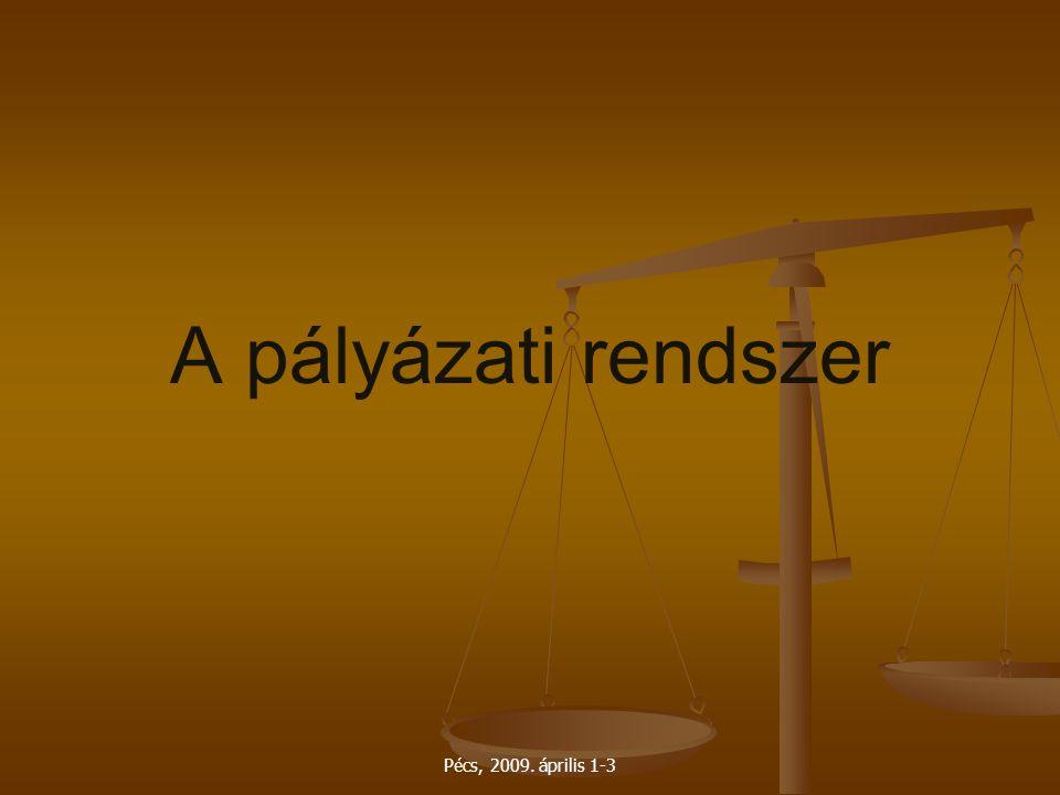 A pályázati rendszer Pécs, 2009. április 1-3