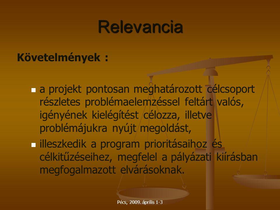 Relevancia Követelmények :
