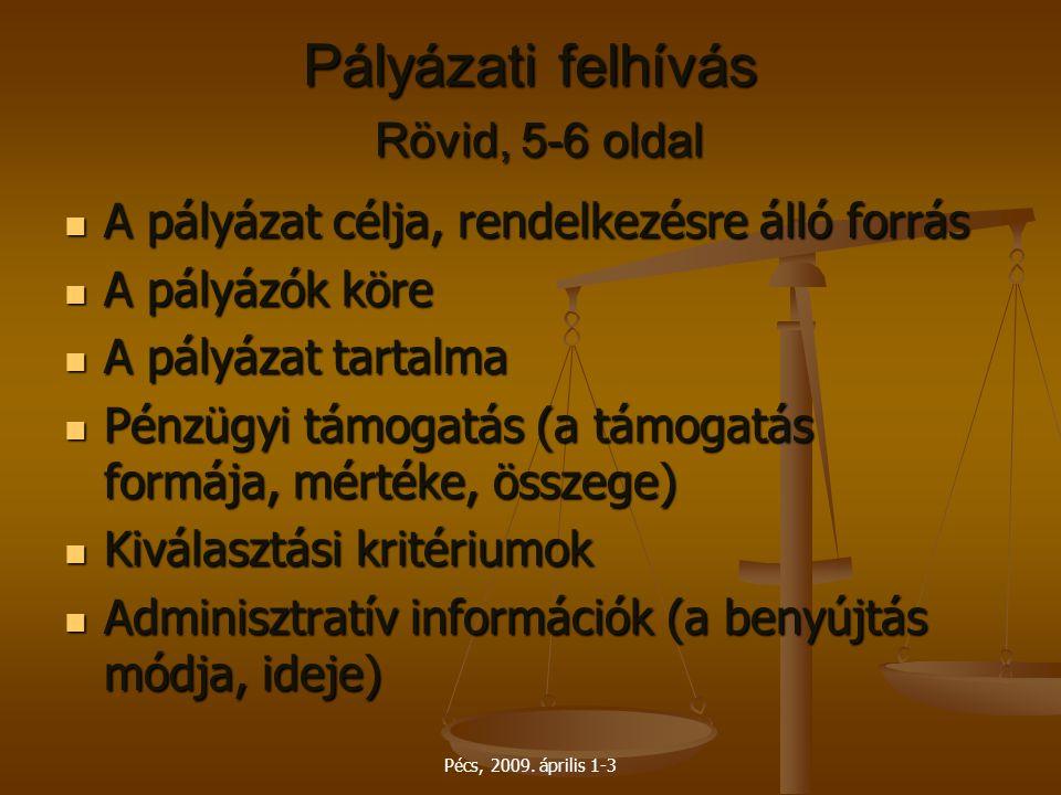 Pályázati felhívás Rövid, 5-6 oldal
