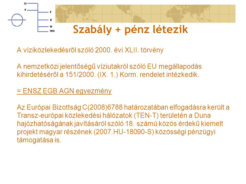 Szabály + pénz létezik A víziközlekedésrõl szóló 2000. évi XLII. törvény. A nemzetközi jelentőségű víziutakról szóló EU megállapodás.