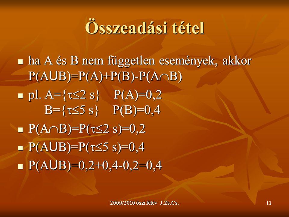Összeadási tétel ha A és B nem független események, akkor P(AUB)=P(A)+P(B)-P(AB) pl. A={2 s} P(A)=0,2 B={5 s} P(B)=0,4.