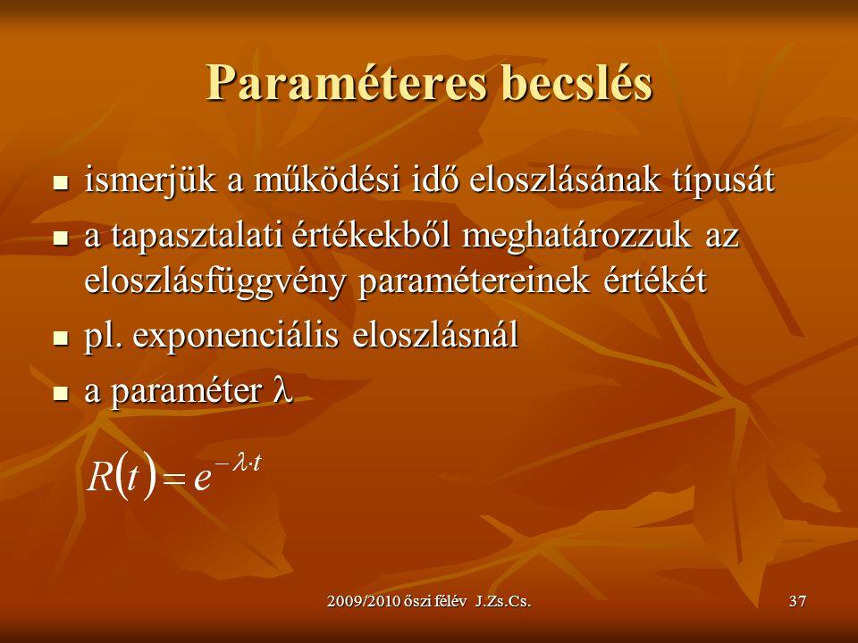 Paraméteres becslés ismerjük a működési idő eloszlásának típusát