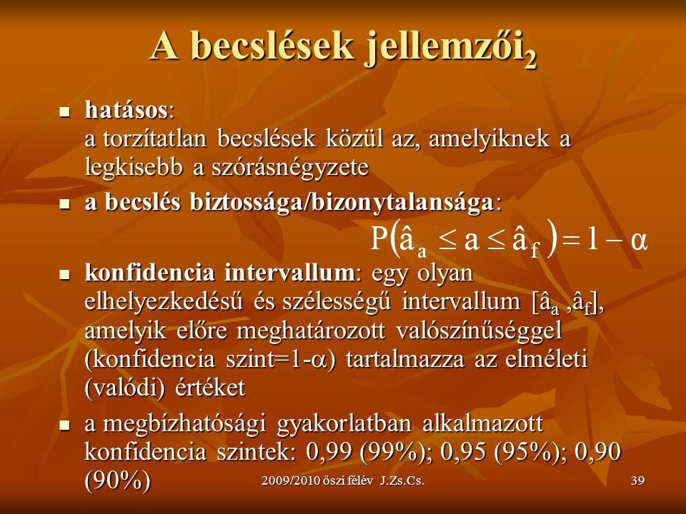 A becslések jellemzői2 hatásos: a torzítatlan becslések közül az, amelyiknek a legkisebb a szórásnégyzete.