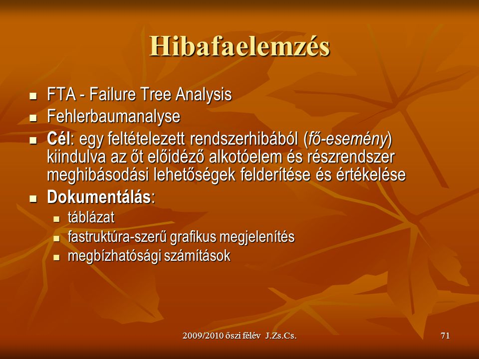 Hibafaelemzés FTA - Failure Tree Analysis Fehlerbaumanalyse