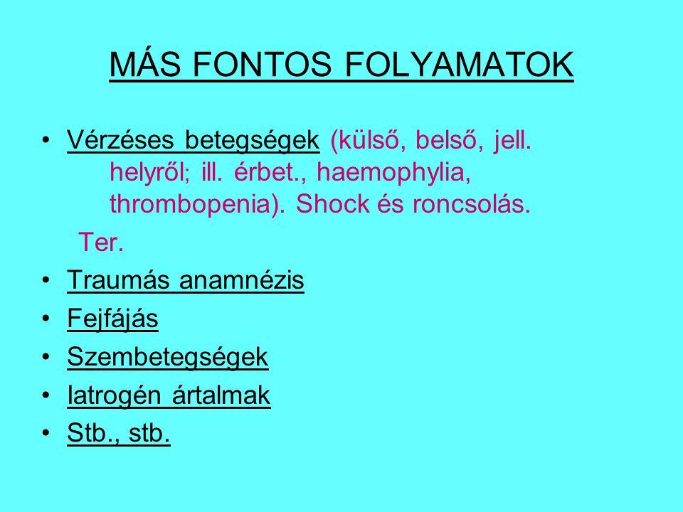 MÁS FONTOS FOLYAMATOK Vérzéses betegségek (külső, belső, jell. helyről; ill. érbet., haemophylia, thrombopenia). Shock és roncsolás.